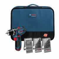Bosch GSR 12V-15 LI akkus fúró-csavarozó szett 2 x 1,5h akkuval, hordtáskával, 39 részes tartozék készlettel