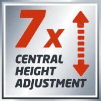 központi magasságállítás 7 pozicióban