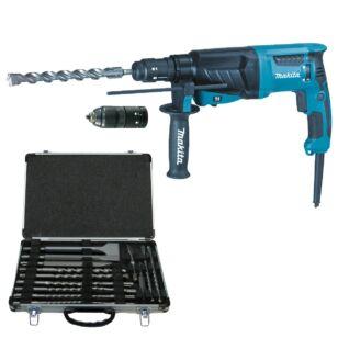 MAKITA HR2630TX Fúrókalapács 800W + 17 részes fúró/véső tartozék készlet