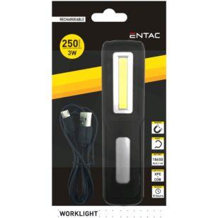 Entac 3W+1W COB LED tölthető szerelőlámpa kampóval, mágnessel