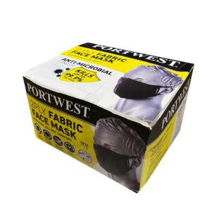 Portwest CV22 Maszk 25db, 2 rétegű, Anti-Mikrobiális, Fekete