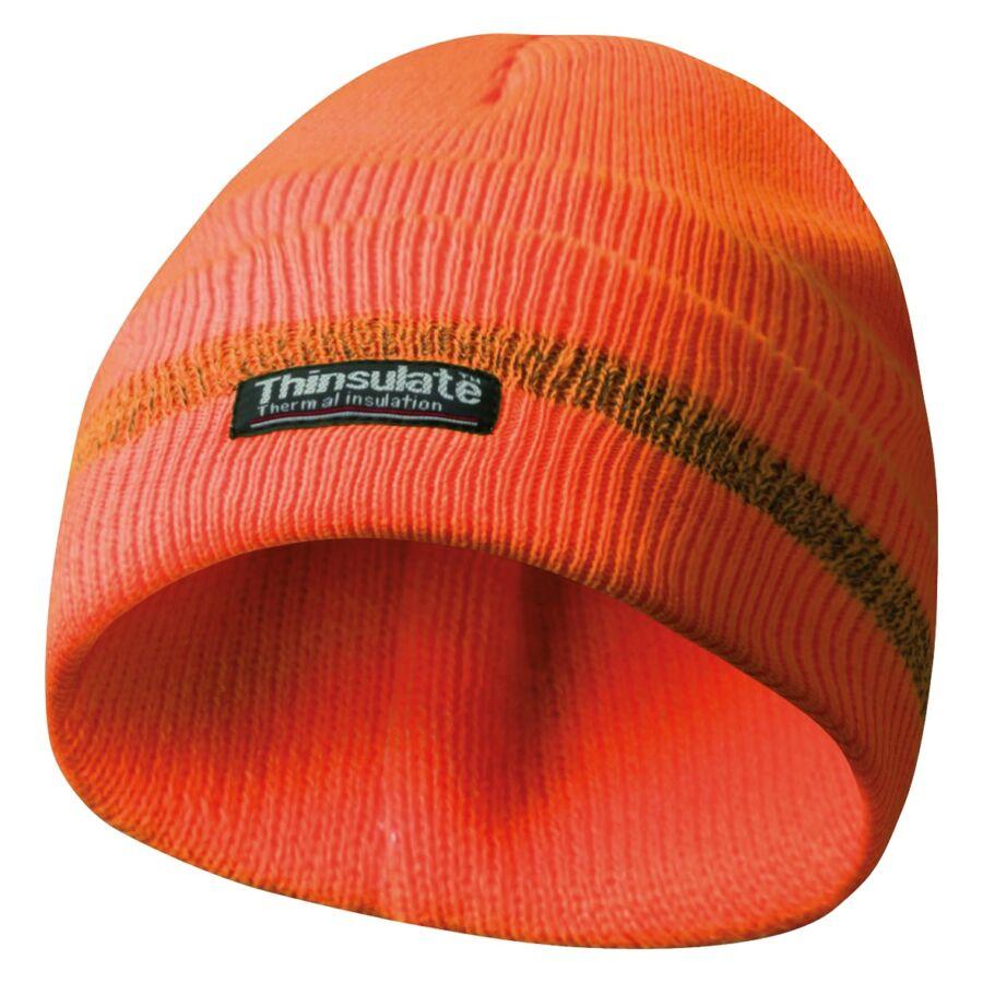 Gebol Sapka Fényvisszaverő Csíkkal Thinsulate béléssel Narancs